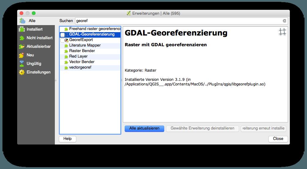 Aktivieren der Georeferenzierung in QGIS