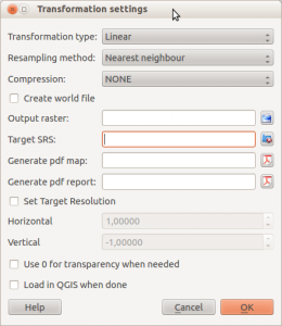 Transformation Settings in QGIS