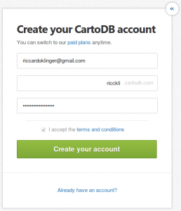 create account on cartoDB