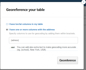 georeference dialogue in cartoDB