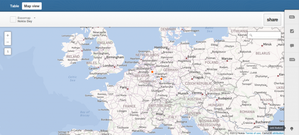 map view of the rows in cartoDB