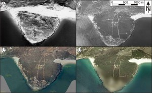 The dune system at Cape Camarinal in the Bolonia Bay is characterized by a high mobility and fast morphological changes. Only 60 years ago, the dune separated the peninsula from the coast. A Aerial photograph from November, 1956 (ICA, 2010). B Aerial photograph from December, 1995 (ICA, 2010). C Aerial photograph from February, 2005 (SIGPAC, 2010). D Aerial photograph from 2009 (SIGPAC, 2010). The military base on the southern part of the peninsula is blurred on the newest images.