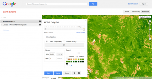 MODIS and NDVI used in the Earth Engine @Google.org