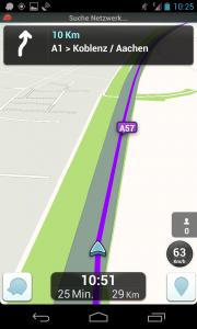 Wazes' Navigationsoberfläche