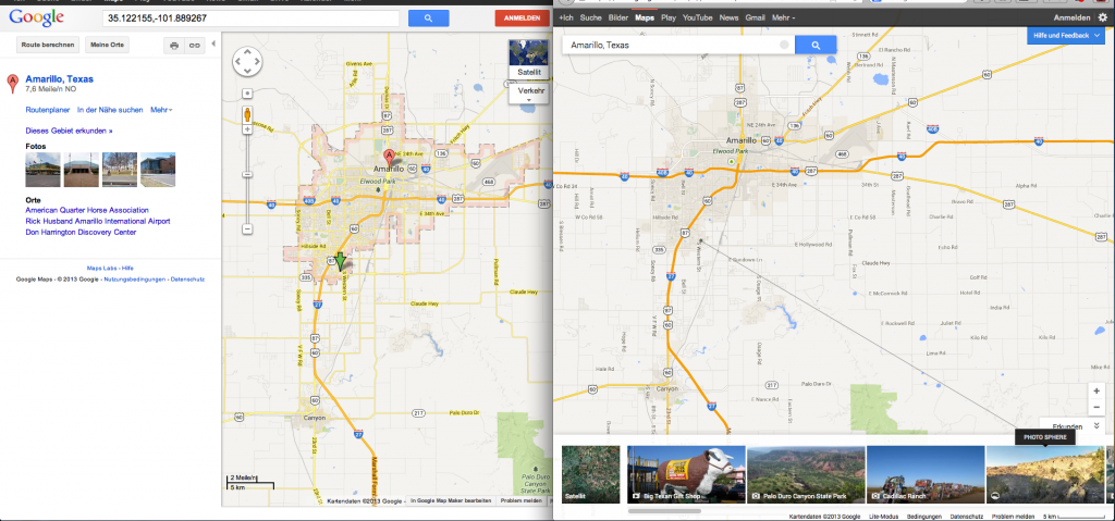 search results shown on map: old (left) vs. new (right) google maps