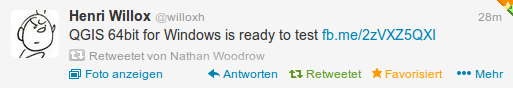 retweet from @willoxh about qgis 64