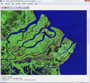 The RAT interface showing a Freeman-Durden decomposition of an ALOS PALSAR image over the Rufiji delta.
