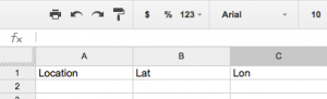 google spreadsheet header