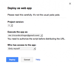 deploy as a web app in google spreadsheets
