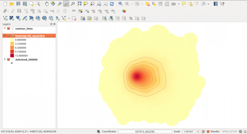 results raster iso lines contour QGIS