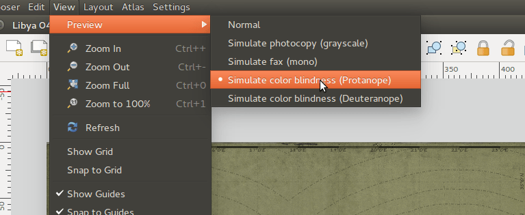 QGIS Composer Color Blindness Simulator
