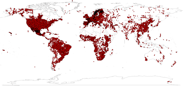 World distribution of soil profiles used to generate the SoilGrids1km product (about 110,000 points).