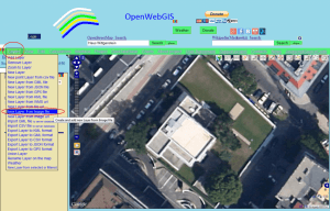 "Menu item ""Layers-> New Layer from Image file"" in the interface of OpenWebGIS."