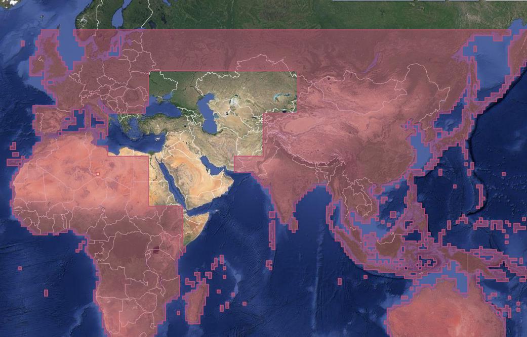 Globale Deckung der SRTM-1-Daten mit der Lücke in Nordostafrika