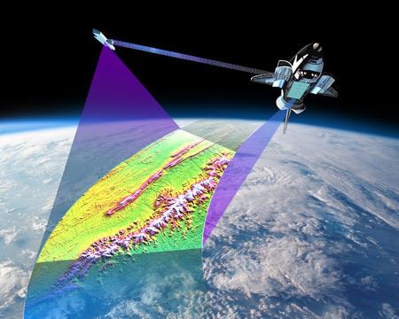 SRTM-Prinzip (Quelle: http://komunitas-atlas.blogspot.com/2011/11/shuttle-radar-topography-mission-srtm.html)