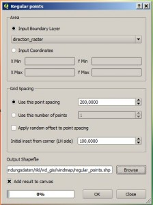 regular spaced points QGIS