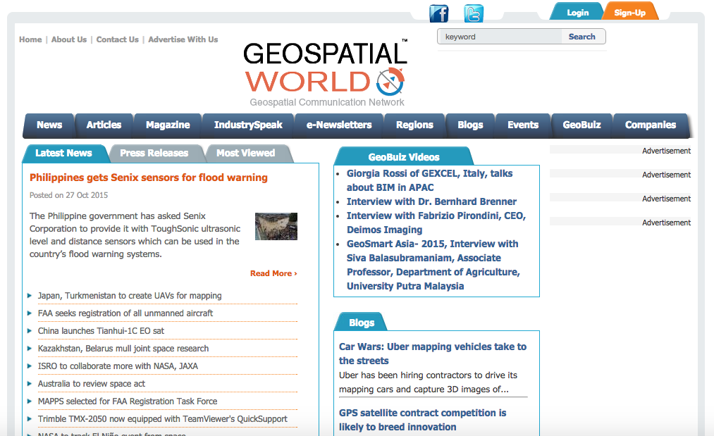 Frontpage of geospatialworld.org