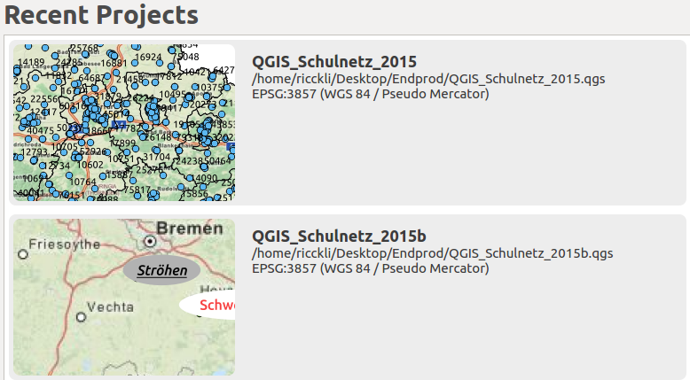 recent projects in QGIS