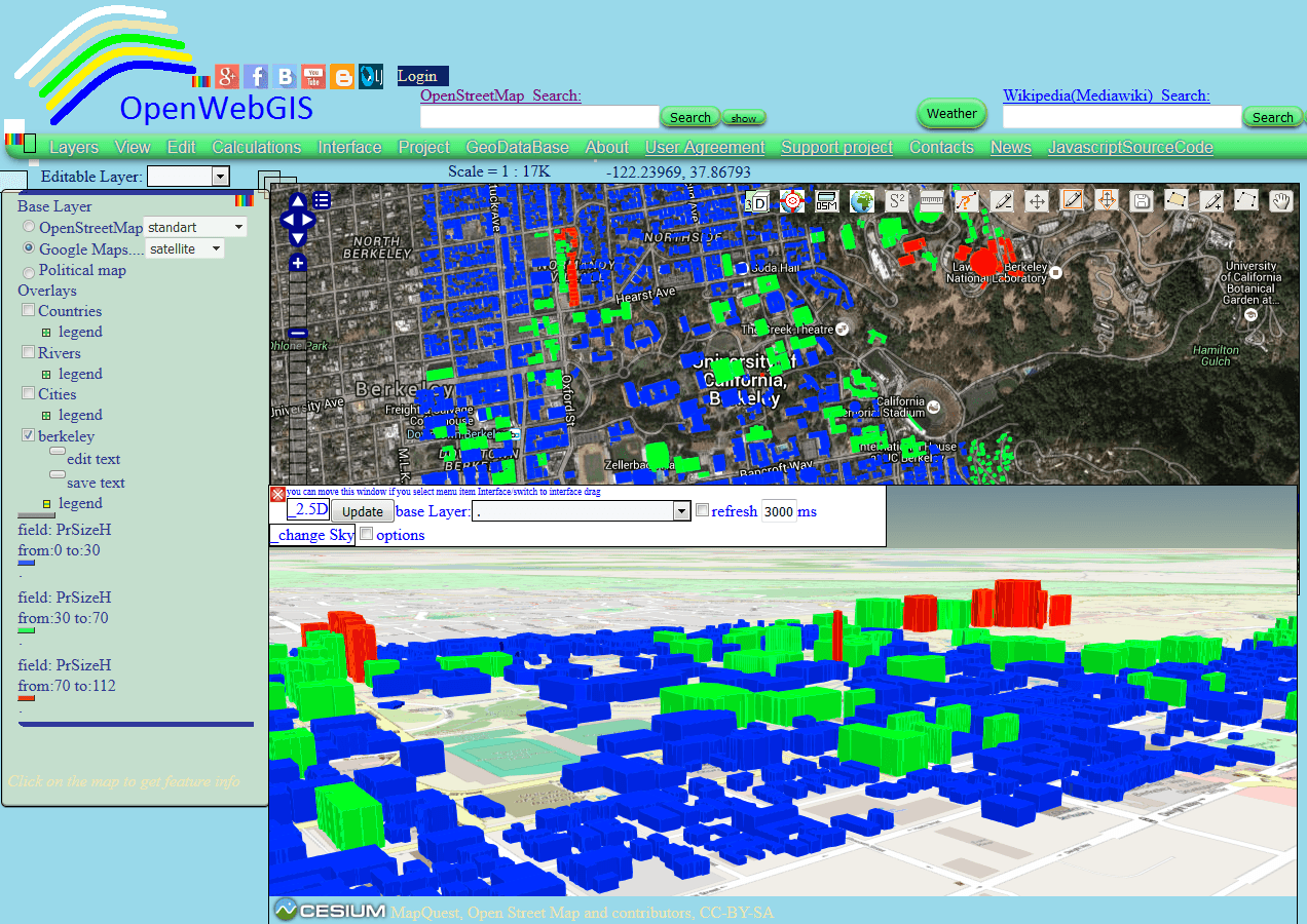 Figure 1 – Visualization of shapefile with data about buildings in Berkeley on 2D and 3D maps