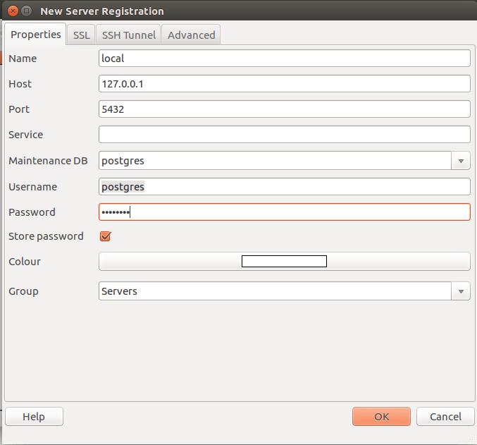 postgresql connection pgadmin3