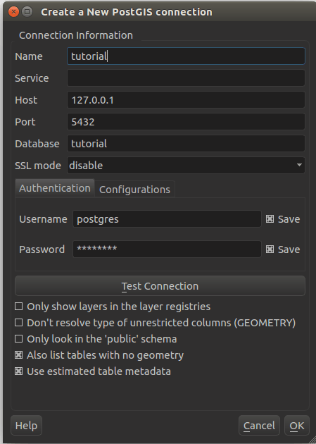 connection settings in GQIS