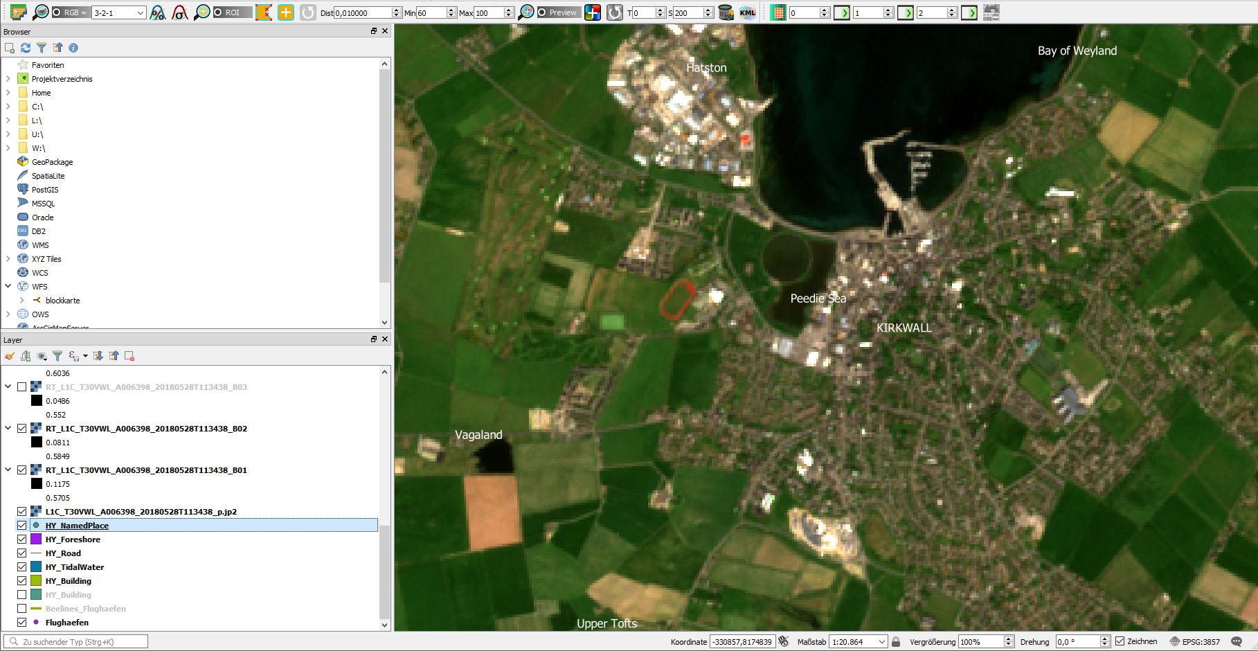 RGB-Composition with the SCP plugin for QGIS3