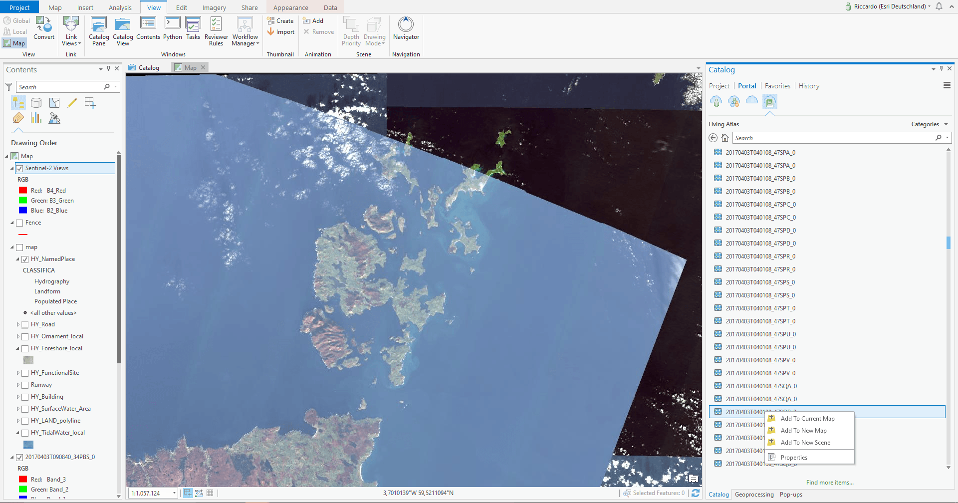 Sentinel-2 Views in ArcGIS Pro