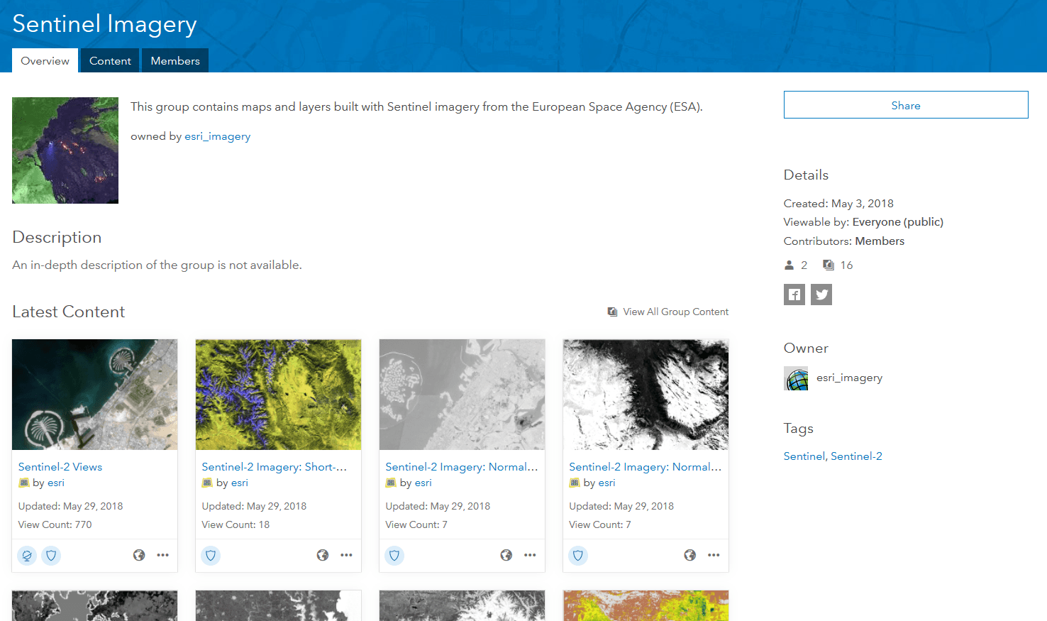 Sentinel-2 Imagery services in ArcGIS Online.