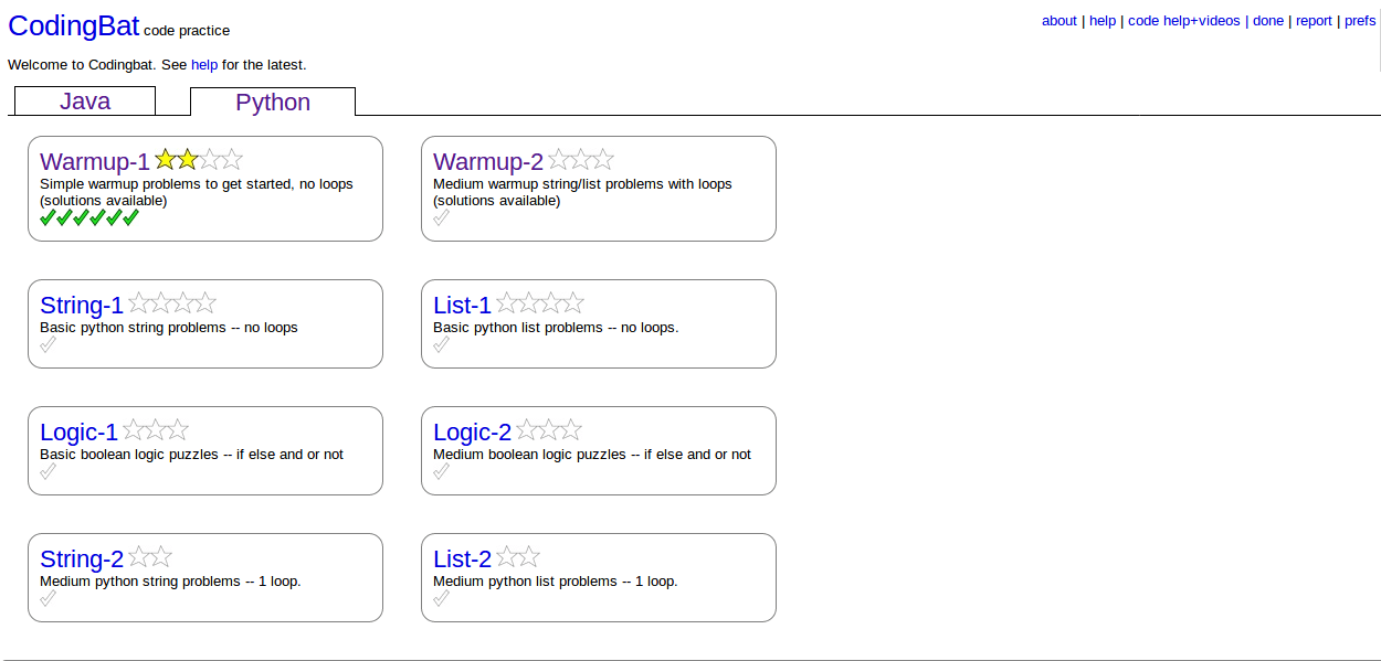 Quizzes at CodingBat