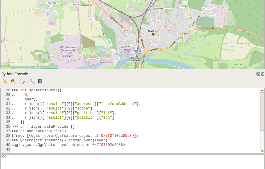 geocoding results for the Azure Maps API