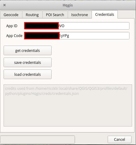 Credentials in the HQGIS plugin
