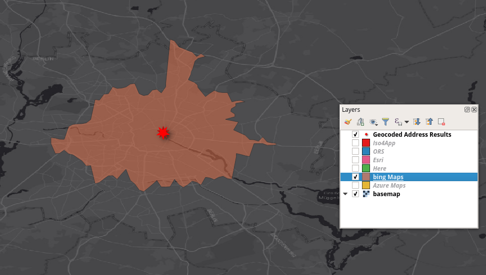Bing Maps isochrone