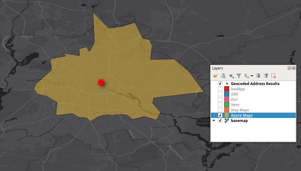 Azure Maps isochrone