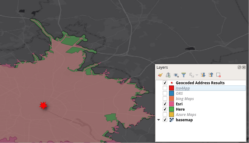 HERE isochrone from HQGIS compared to Esri's isochrone