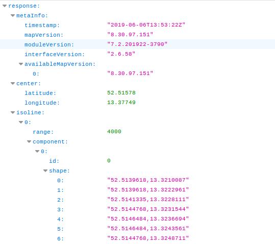 HERE API response